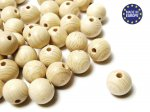 20 x Round Wooden Beads 15mm - Natural Varnish