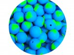 1 x Heart Silicone Teething Bead 15mm - blue & lime green