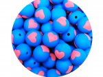 5 x Heart Silicone Teething Bead 15mm - blue & pink