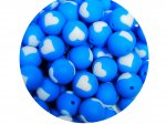 5 x Heart Silicone Teething Bead 15mm - blue & white