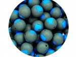 5 x Heart Silicone Teething Bead 15mm - gray & blue