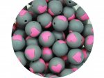 1 x Heart Silicone Teething Bead 15mm - gray & pink