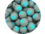 1 x Heart Silicone Teething Bead 15mm - gray & turquoise