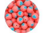 5 x Heart Silicone Teething Bead 15mm - salmon & blue