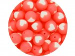 5 x Heart Silicone Teething Bead 15mm - salmon & white