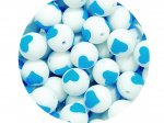 5 x Heart Silicone Teething Bead 15mm - white & blue