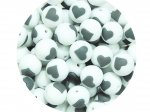 5 x Heart Silicone Teething Bead 15mm - white & gray