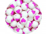 5 x Heart Silicone Teething Bead 15mm - white & lilac