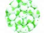 5 x Heart Silicone Teething Bead 15mm - white & lime green