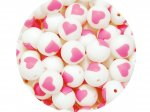 5 x Heart Silicone Teething Bead 15mm - white & pink