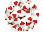5 x Heart Silicone Teething Bead 15mm - white & red