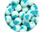 1 x Heart Silicone Teething Bead 15mm - white & turquoise