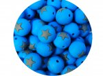 5 x Star Silicone Teething Bead 15mm - blue & gray