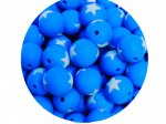 5 x Star Silicone Teething Bead 15mm - blue & light blue
