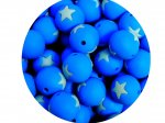 5 x Star Silicone Teething Bead 15mm - blue & light mint