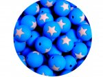 5 x Star Silicone Teething Bead 15mm - blue & light pink