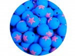 5 x Star Silicone Teething Bead 15mm - blue & lilac