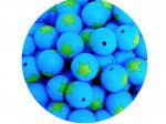 5 x Star Silicone Teething Bead 15mm - blue & lime green