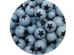 5 x Star Silicone Teething Bead 15mm - gray & black