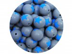 5 x Star Silicone Teething Bead 15mm - gray & blue