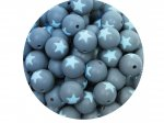5 x Star Silicone Teething Bead 15mm - gray & light blue