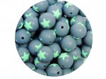 1 x Star Silicone Teething Bead 15mm - gray & light mint