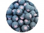 5 x Star Silicone Teething Bead 15mm - gray & light pink
