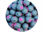 5 x Star Silicone Teething Bead 15mm - gray & lilac