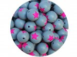 5 x Star Silicone Teething Bead 15mm - gray & pink