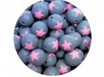 5 x Star Silicone Teething Bead 15mm - gray & medium pink