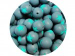 5 x Star Silicone Teething Bead 15mm - gray & turquoise