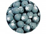 5 x Star Silicone Teething Bead 15mm - gray & white