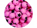 5 x Star Silicone Teething Bead 15mm - pink & black