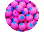 5 x Star Silicone Teething Bead 15mm - pink & blue