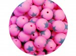 5 x Star Silicone Teething Bead 15mm - pink & grey
