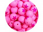 5 x Star Silicone Teething Bead 15mm - pink & hot pink