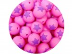 5 x Star Silicone Teething Bead 15mm - pink & lilac