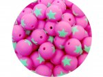 5 x Star Silicone Teething Bead 15mm - pink & mint
