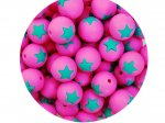 5 x Star Silicone Teething Bead 15mm - pink & turquoise