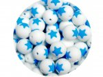 5 x Star Silicone Teething Bead 15mm - white & blue