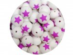 5 x Star Silicone Teething Bead 15mm - white & lilac