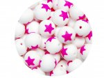 5 x Star Silicone Teething Bead 15mm - white & pink