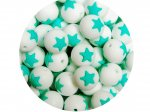 5 x Star Silicone Teething Bead 15mm - white & turquoise