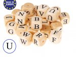 5 x Wooden Letter Beads 12mm - Letter U