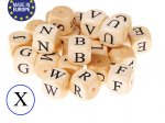 1 x Wooden Letter Bead 12mm - Letter X