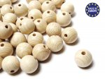 25 x Round Wooden Beads 12mm - Natural Varnish