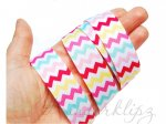 5 Metres -  7/8'' Girly Chevron grosgrain ribbon . 22mm